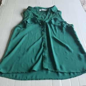 Candie's Green Button Down Lace Detailed Top